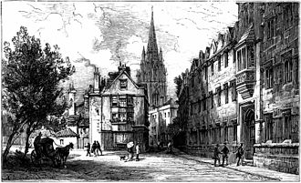 Oriel Square - Late 19th Century view of Oriel Square, looking north up Oriel Street, with Oriel College on the right and St Mary's spire in the background.