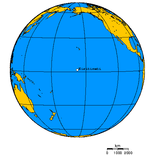 Orthographic projection over Kiritimati