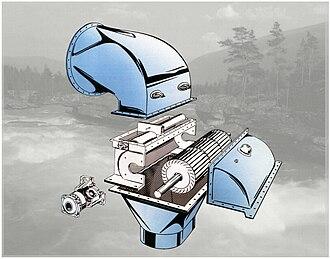 Cross-flow turbine - Ossberger turbine section