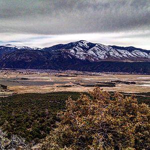 Questa, New Mexico - Overview of the Village of Questa form the Rio Grande del Norte National Monument Las Vistas de Questa Trail.