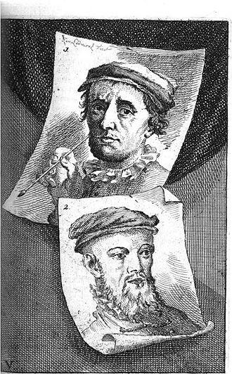 Barend Dircksz - Portrait of Doove Barend in 18th-century illustrated version of Karel van Mander's schilder-boeck. He is shown below Allaert Claesz.
