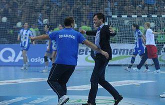 Predrag Bošković - Celebrating European Championship League Title with Dragan Adzic, coach of the Women's Handball Club Buducnost (May 13, 2012)