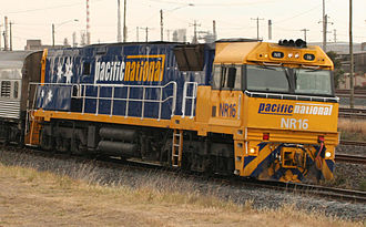 Pacific National - NR16 hauling The Overland at North Shore in November 2008