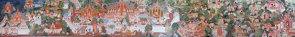 תצלום פנורמי של תמונה המתארת ארועים בחייו של בודהה (לצפייה הזיזו עם העכבר את סרגל הגלילה בתחתית התמונה)