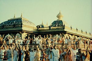 New Vrindaban, West Virginia - Prabhupada's Palace of Gold and Hare Krishna devotees, c. 1982.