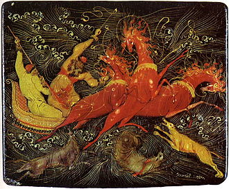Russian lacquer art - Image: Palekh Troika Wolves