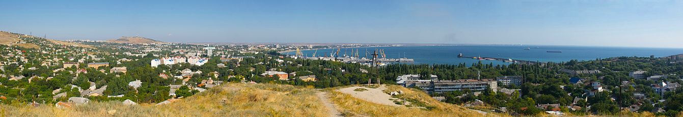 Panorama Feodosiya seen from the mountain Tepe Oba.