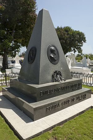 Emilio Bacardi - Burial vault of Emilio Bacardi y Moreau and his wife Elvira Cape de Bacardi, located in the Santa Ifigenia Cemetery, in the provinces Santiago de Cuba, Cuba.
