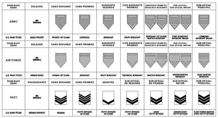 Distintivos de grados en los sub-oficiales y equivalencia OTAN.