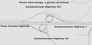Partial cloverleaf interchange - An A4 Parclo at Saskatchewan Highway 1 (the Trans Canada Highway), Saskatchewan Highway 39  and Saskatchewan Highway 301. The eastbound directional onramp is located further south of the overpass and is not pictured.