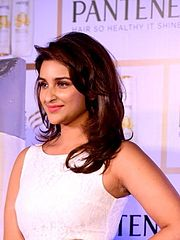 Parineeti Chopra is looking towards the camera