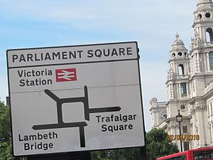 English: Parliament Square sign Português: Pla...