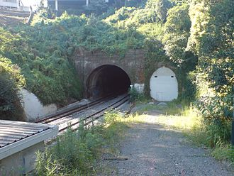 Parnell Tunnel - The southern portals of the newer double-track tunnel, and of the closed older single-track tunnel in 2011