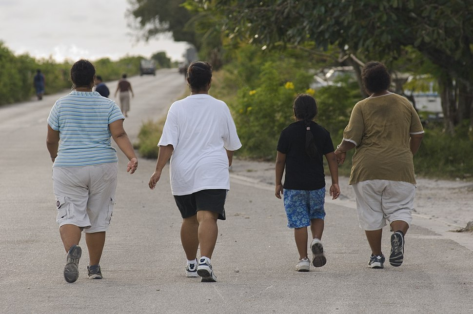 Participants of a walk against Diabetes and for general fitness around Nauru airport