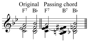 Passing chord - Image: Passing chord in Bb