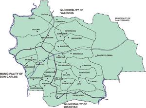 Quezon, Bukidnon - Political map of Quezon, showing its 31 barangays