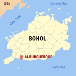 Map of Bohol showing the location of Alburquerque