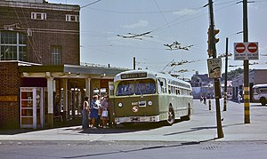 Trolleybuses in Philadelphia - A 1955 Marmon-Herrington trolley bus loading on route 66 in 1978