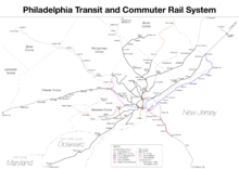 Rail lines converge to Center City Philadelphia in a hub-and-spoke model
