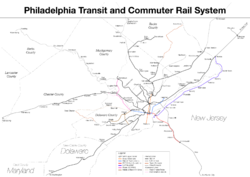 Rail lines converge to Center City Philadelphia in a hub-and-spoke model.