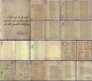 Independence Day (Philippines) - Declaration of Independence Document written by Ambrosio Rianzares Bautista.