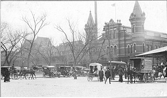 Center Market, Washington, D.C. - Center Market showing the front of the building and the 9th Street Wing in 1914