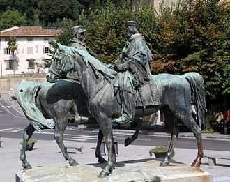 The Encounter of Teano, Fiesole - Monument with Garibaldi in forefront in photo
