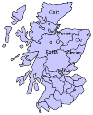 Kingdom of Ce - This map of Scotland shows roughly the area the Pictish kingdoms were located, superimposed on a map of modern Scotland.