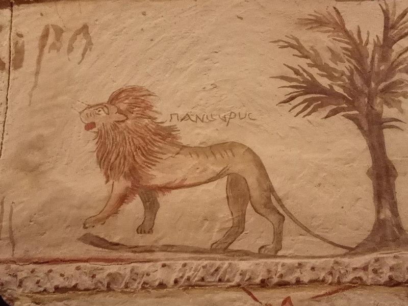 ציור אריה במערה הצידונית בבית גוברין