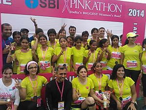 Pinkathon - Visually impaired participants completed the marathon with the help of volunteers