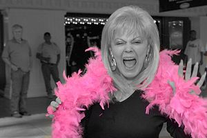 Feather boa - A modern, pink chandelle feather boa, in a black and white image