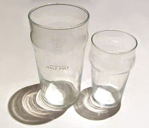 "Pint glass - ""Nonik"" pint glasses: full and a half pint"