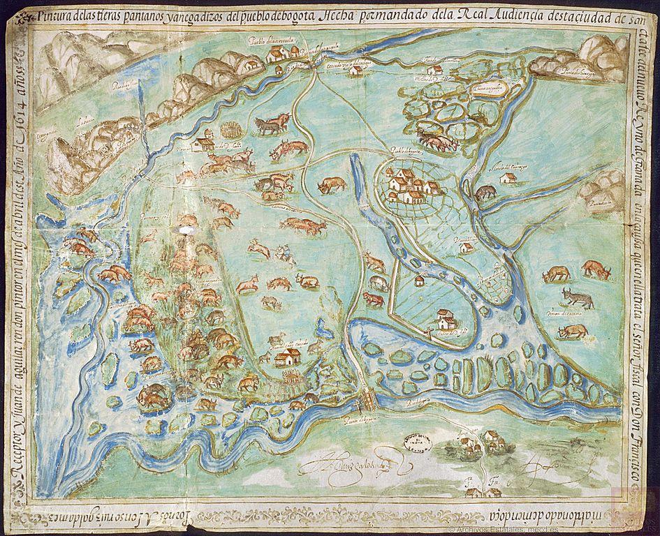 Peinture des terres, des marais et des marécages de la ville de Bogotá en 1614 - Archives générales des Indes à Séville