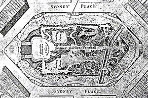 Sydney Gardens - A plan of Sydney Gardens, Bath, as part of the plan of Bath published in 1810