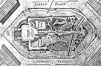 Sydney Gardens - A plan of Sydney Gardens, Bath, as part of the plan of Bath published in 1810