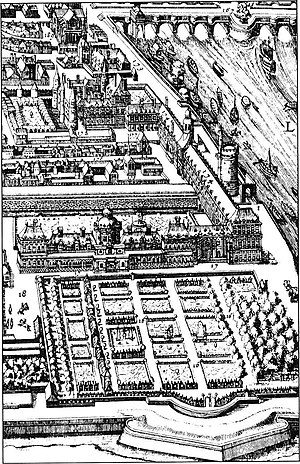 Tuileries Garden - The Tuileries Garden in 1615, where the Grand Basin is now located. The covered promenade can be seen, and the riding school established by Catherine.