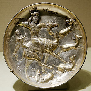 Bahram V - 5th-century plate with a hunting scene from the tale of Bahram V and Azadeh.