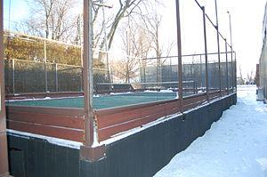 Platform tennis - A platform tennis court