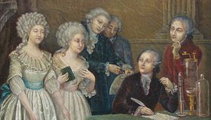 Claudine Picardet -  Mme. Lavoisier (left), Claudine Picardet (with book),   Berthollet, Fourcroy, Lavoisier (seated) and Guyton de Morveau (right)