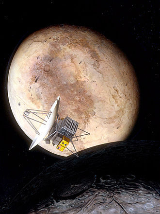 Pluto Kuiper Express - Artist's impression of Pluto Fast Flyby at Pluto and Charon.