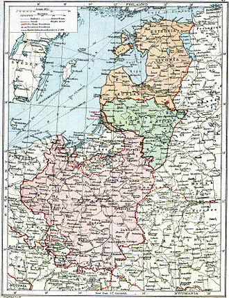 History of Poland (1918–1939) - 1920 map from The Peoples Atlas showing the situation of Poland and the Baltic states with their still-undefined borders after the treaties of Brest-Litovsk and Versailles and before the Peace of Riga