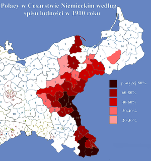 Prussian Partition - Poles in the German Empire electoral districts according to the census of 1910