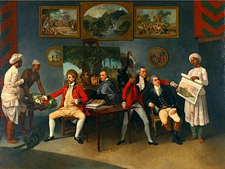 Colonel Antoine Polier, Claude Martin and John Wombwell with the Artist