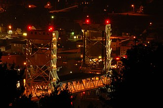 Portage Lake Lift Bridge - The Portage Lake Lift Bridge at night from north of Hancock, MI