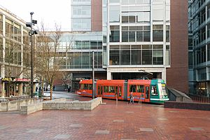 NS Line (Portland Streetcar) - A Nob Hill-bound streetcar at PSU Urban Center