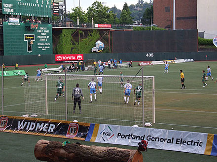 Soccer game in the USL years, viewing the old configuration of the eastern wall Portland Timbers FC.jpg