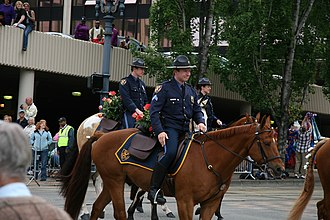 Portland Police Bureau - Mounted Patrol Officers in Class 1 Dress.