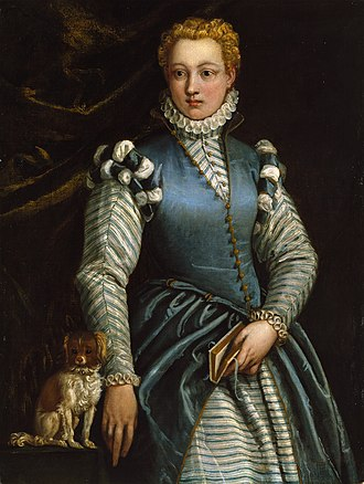 Isabella Andreini - Image: Portrait of a Woman with a Dog Veronese Museo Thyssen