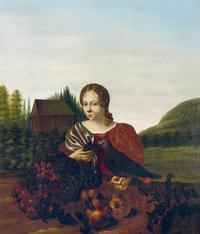 Portret van een jonge vrouw met vogel door Aleida Greve (1686).png