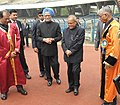 Pranab Mukherjee being received by the Prime Minister, Dr. Manmohan Singh, at the inauguration of the 100th Session of Indian Science Congress, in Kolkata. The Governor of West Bengal, Shri M.K. Narayanan is also seen.jpg